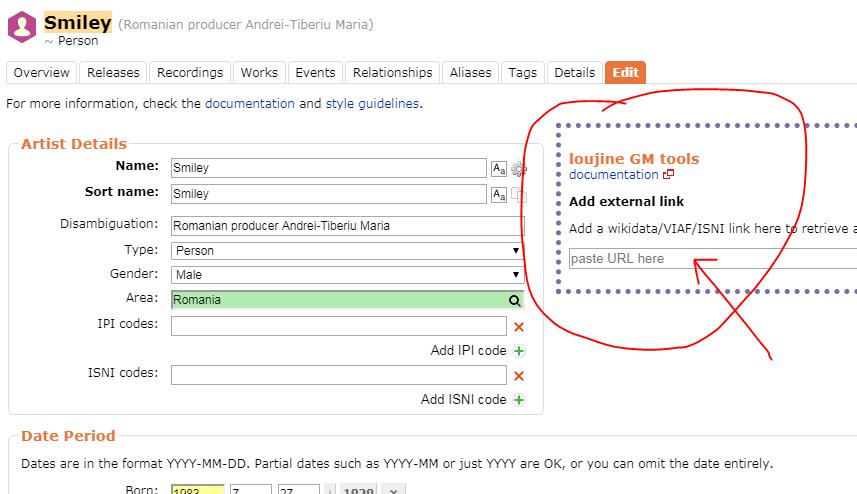 User script to load artist data from wikipedia - MusicBrainz