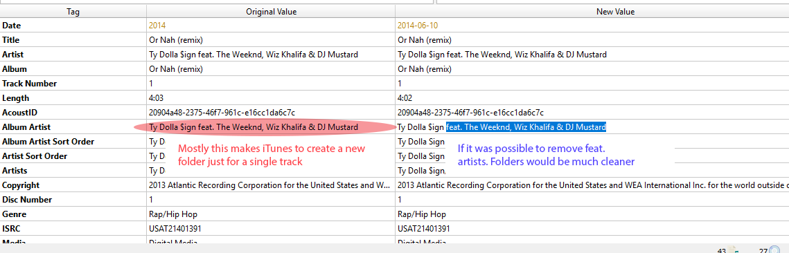 Remove feat  artist from albumartist tag while tagging - MusicBrainz